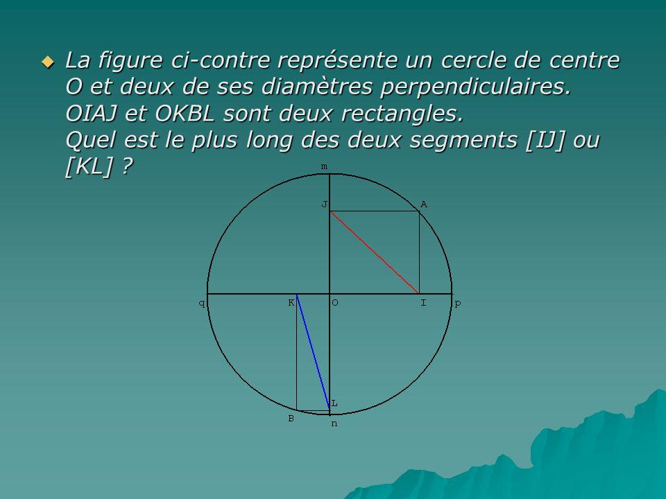 La figure ci-contre représente un cercle de centre O et deux de ses diamètres perpendiculaires. OIAJ et OKBL sont deux rectangles. Quel est le plus long des deux segments [IJ] ou [KL]